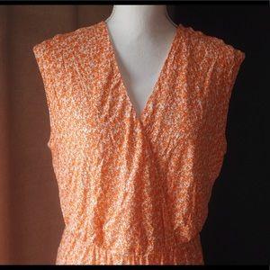 Orange and white patterned maxi dress. Size L.